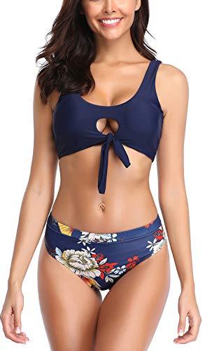 B2prity Bikini Set für Frauen Krawatte Knoten Vorne Abnehmen Badeanzüge Zweiteiler Sexy  (Blau, M(EU 36-38)) -