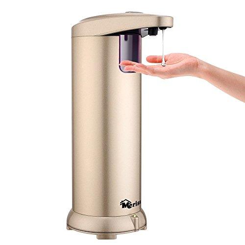 Merisny Automatico Distributore Sapone Liquido 280ML, Dispenser Sapone Acciaio da Doccia Cucina Bagno per Disinfettante Shampoo Emulsione