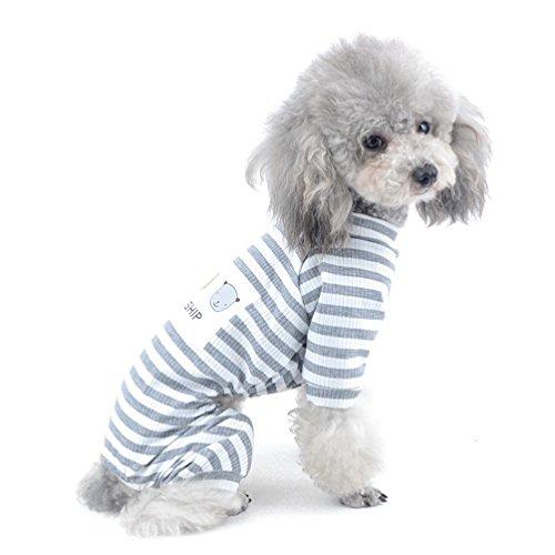 selmai Streifen Outfits für kleine Hunde Baumwolle Schlafanzüge Hund Overall Puppy Kleidung