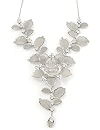 Stunning Y-Shape Mesh Silver Floral Necklace With Clear Diamantes - 34cm Length (7cm extension)