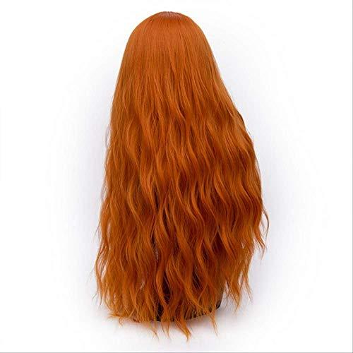Ariel Kind Kostüm Perücke - XLWYNG longs cheveux ondulés perruques,femmes avec la frange ,Cosplay Perücke Frau und Mädchen, orange 28inches