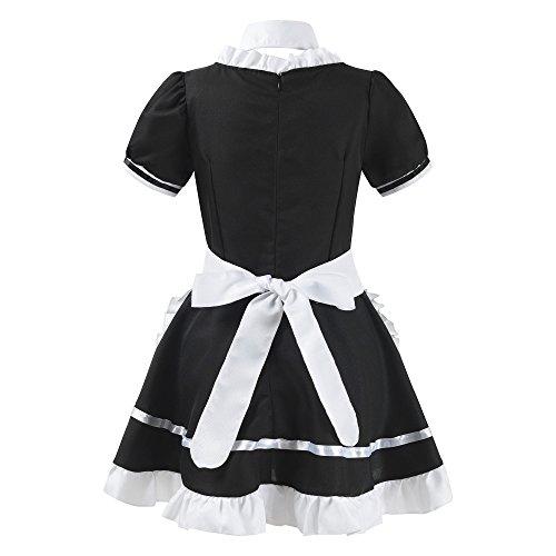 Womens Anime French Maid Apron Adult Fancy Dress Lolita Cosplay Costume Uniform (Black, L)