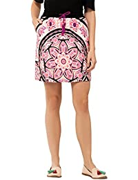 Chumbak Printed Pink A-line Mini Skirt