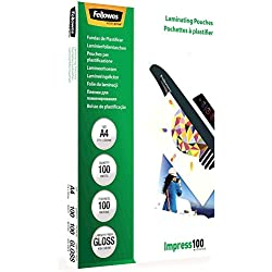 Fellowes 5351111 Pochettes de plastification 100 microns - Format A4 - Pack de 100 pochettes - Technologie ImageLast