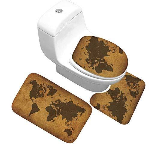 QWER 3 Sätze Badematten Lustige Badezimmer Teppich Set Waschbar Dusche Teppich Dekor Wc Sitz Tank Cover Teppich Weiche Toilette Matte Fuß Teppich