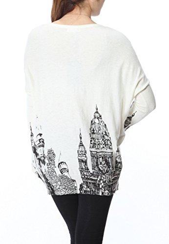 ELLAZHU Femme Pull Robe Tricot Lâche Imprimé Tour De La Cloche Taille Unique SZ33 Blanc
