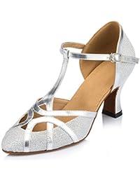 Minitoo QJ6133–Zapatos de bailes latinos para mujer, dedos cerrados, piel sintética, con purpurina, tacón alto, correa en T