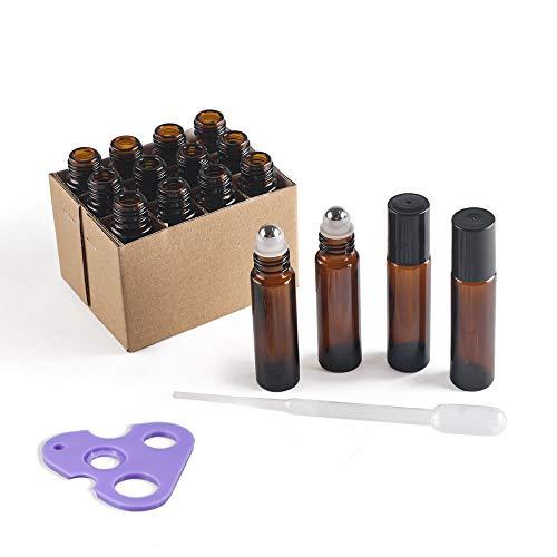 MYLL 10ml Braunglas Roll on Flasche Leer | Kleine Deoroller zum Befüllen, Glass behälter, Glasroller für Ätherische Öle (12 Stück)