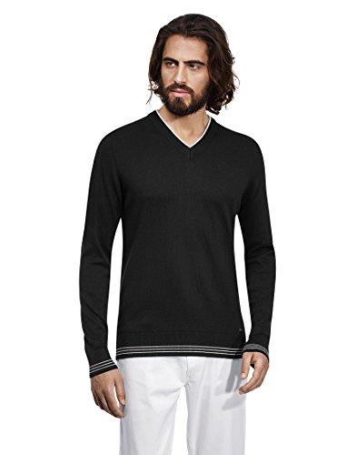 VB-Maglione da uomo con scollo a V, Strisce a contrasto, slim Black X-Large