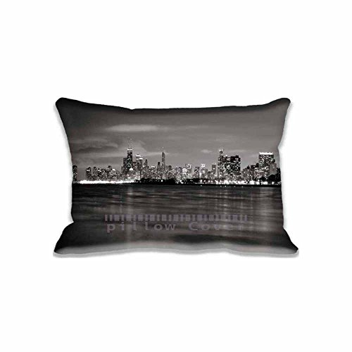 Chicago Skyline BW Pillowcase Covers King Size Decorative Pillow Protector Covers For Sofa 16x24inch(Twin Sides)