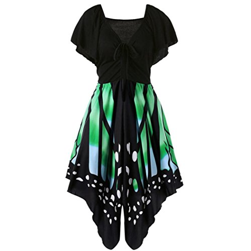VENMO Frauen Hohe Taille Schmetterling Trägerkleid mit kurzen Ärmeln Damen boho sommerkleid Frauen Schmetterlings Drucken Asymmetrie Bügel Kleid Butterfly tube kleid strandkleider partykleid abendkleid minikleid (Green, XXL) Butterfly Hooded Sweater