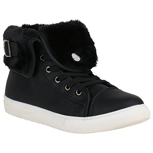 Sneakers High Damen Warm Gefüttert Winter Turnschuhe Schnallen 151576 Schwarz Arriate 39 | Flandell®