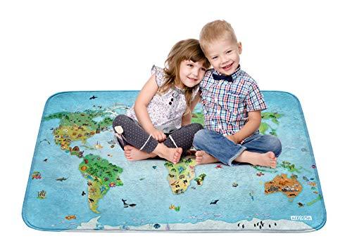 House Of Kids 86033-E3 - Playmat Ultra Soft Carte Du Monde, 130 x 180 cm (Kids Playmat)