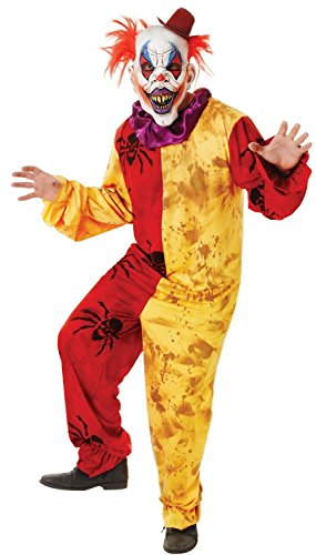 Mens Horror Zombie Killer Clown + Mask Halloween Scary Film Fancy Dress Costume Outfit (One Size) (Scary Filme Clown)