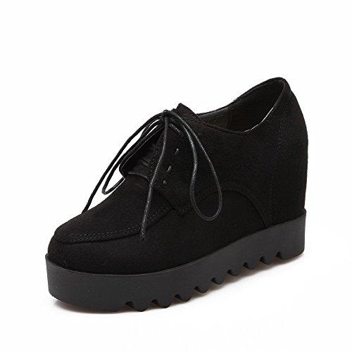 VogueZone009 Talon Noir Rond Chaussures Dépolissement Lacet Femme à Haut Légeres PP41Bqfw