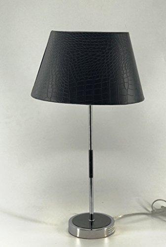 Oval-Lampenschirm-Kaiman-Optik-Leder Imitat konische Form (SCHWARZ 20*30*18cm)
