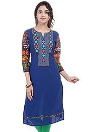 Crazora Women's Blue Mirror Work Cotton Kurti