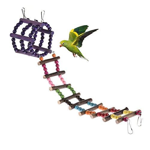 iter Vogel Spielzeug Parrot Hamster Sugar Glider Klettern Leiter Spielzeug Log Swing Hanging Bridge Toys Holz Rainbow Bridge für Haustier trainieren (Glider Spielzeug)