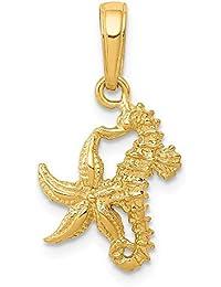 bea4a8103cf4 DIAMOND2DEAL INC Colgante de Oro Amarillo de 14 Quilates con Caballito de  mar sólido y Estrella