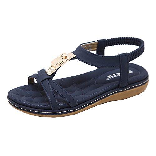 JURTEE Sandalen Damen Sommer, Mode Frauen Flache Schuhe Böhmen Dame Mädchen Metall Schnalle Sandalen Outdoor Schuhe(34 EU,Blau) -