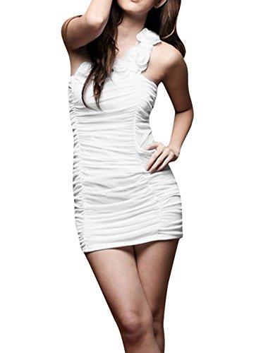 Damen Blume Einschultrig Dehnbar Sexy Clubwear Minikleid Weiß XS Weiß