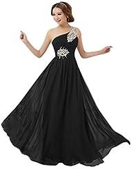 Missfox Maxi Vestido De Noche Un Hombro Corte Imperio Para Mujer 4Xl Negro