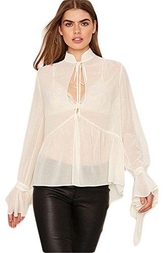 Sexy Transparente Stet Metarin Col Plissée Manches Longues Manches Cloche Larges Blouse Chemisier Shirt Chemise Trapèzee Haut Top Blanc Blanc