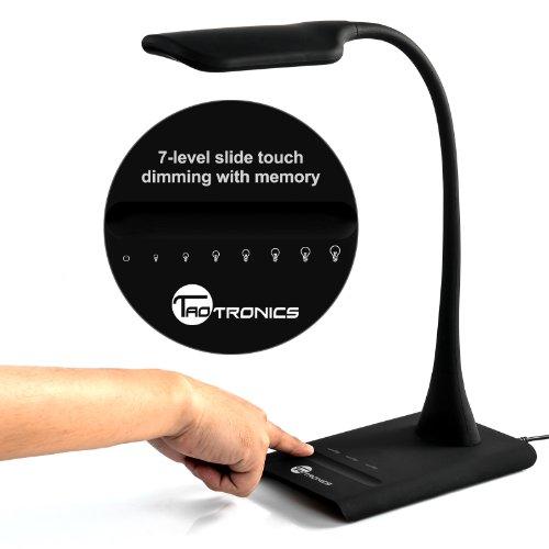Desk Lamp, TaoTronics Adjustable Gooseneck LED Table Lamps for Study, Reading, Office (7 Level Dimmer, Elune Touch Sensitive Slider, flexible ) – Black