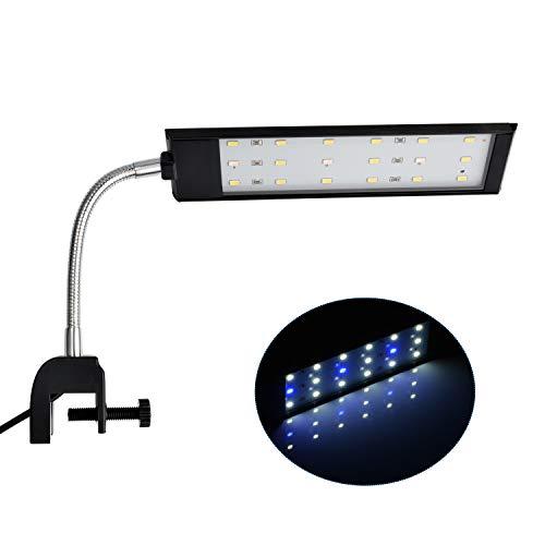 NICREW Lampe LED pour Aquarium, Lampe Pince Aquarium Eclairage LED Bicolore (15 Blanc 3 Bleu) 2 Modes 420LM 7W
