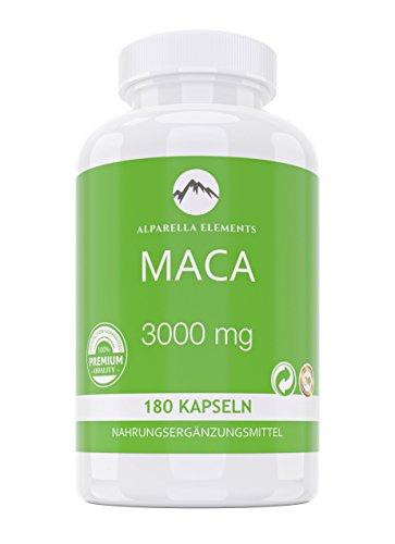 Alparella Elements – Maca 3000 - Hochdosiert - 180 Kapseln mit je 3000mg Maca Wurzel Extrakt - Libido & - Frauen Pulver