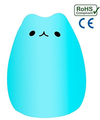 Preisvergleich Produktbild LED Nachtlicht, Bigmeda LED Katze Nachtlicht Touch USB Silikon Lampe mit 8 Beleuchtung Cat Night Light Nachtlichter Schlummerlicht für Kinder Mädchen Geschenk Deko[12 Lichtmodi][Energieklasse A]