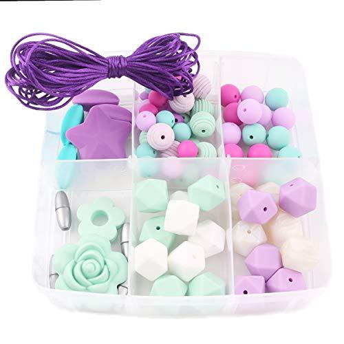 Promise Babe DIY Baby Dummy Clip Kit - Schnullerkette Spielzeug - Baby Beißring Ringe - Silikonperlen Set 78pc - Pflege Halskette Armband Kit - Wund-pflege-kit