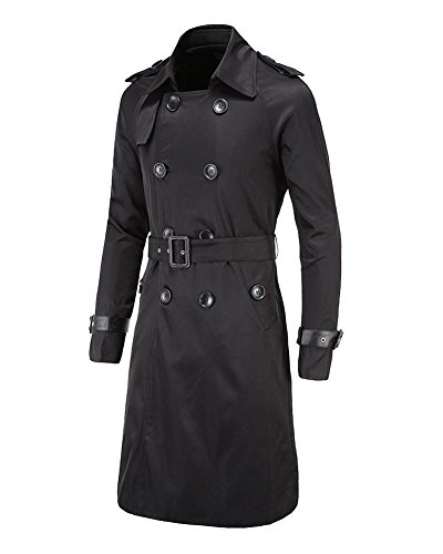 Herren Zweireihiger Lässiger Mit Gürtel Schlank Langer Mäntel Jacken Trenchcoat Schwarz XL