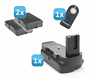 Minadax Profi Batteriegriff für Nikon D5100 - hochwertiger Handgriff mit Hochformatauslöser + 2x EN-EL14 Nachbau-Akkus + 1x Infrarot Fernbedienung!