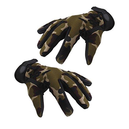 Männer Militärische Taktische Airsoft Schießen Volle Fingerhandschuhe (Camouflage, L)
