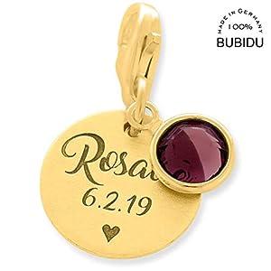 Charm Anhänger Gold Gravur ❤️ vergoldeter 925 Silber Charms mit Namen personalisiert graviert Baby Geburt ❤️…