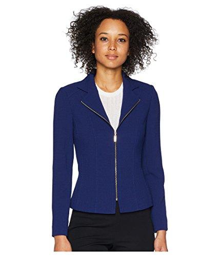 Tahari ASL Womens Crepe Zip Front Moto Jacket