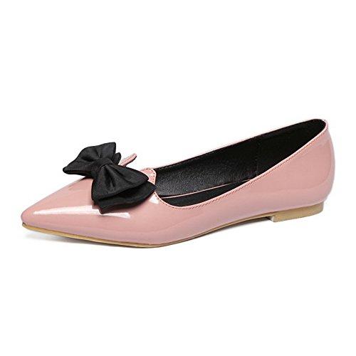 d7c264b217f07 AalarDom Damen Spitz Zehe Ziehen Auf Ohne Absatz Weiches Material Flache  Schuhe Pink-Lackleder