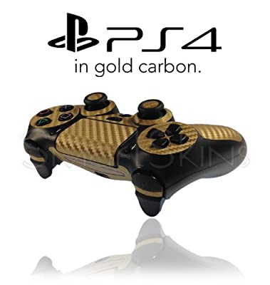 Playstation 4 PS4 Controller Skin in Gold Carbon Wrap Cover Decal by SmartSkins