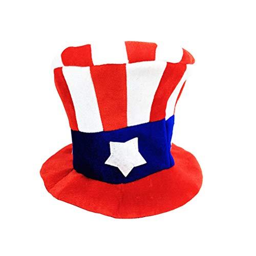 Amosfun 2 Stück Uncle Sam Hut amerikanische Flagge Kostüm patriotischen Accessoires her aus Juli Lieferungen