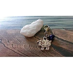 Handmade Anhänger/Charm Schaf, Perle Dunkel Violett- Perlen Farbe und Größe frei wählbar