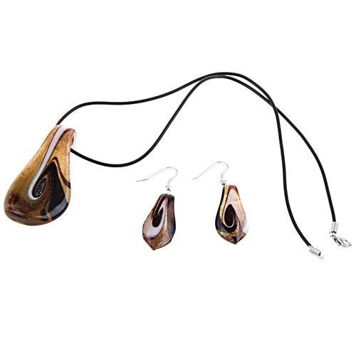 Skyllc® A forma di foglia corsa all'oro della sabbia turbinio di Murano moda PENDENTE dell'orecchino della collana
