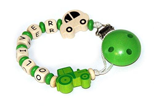 Traktor Oliver (Baby Schnullerkette mit Perlen aus Holz und Wunschname. Grün mit Auto und Traktor (OLIVER))