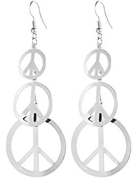 2LIVEfor Lange Ohrringe Peace Silber Kreise Ohrringe lang Hängend Groß Blatt Rund Ohrringe Blätter Kreis