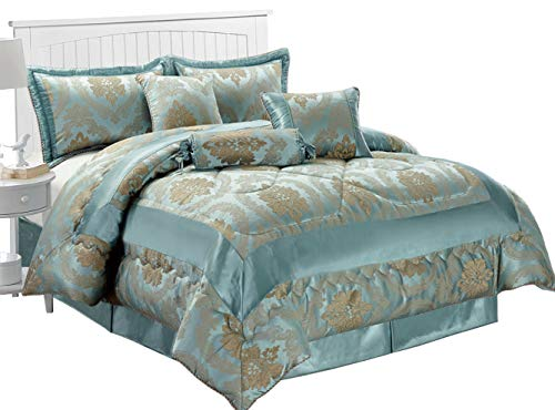 Jacquard-king Supreme (Jacquard 7Stück Luxuriöse Tagesdecke Tröster Set Bettwäsche + passender Kissenbezug, Betty Nutmeg, King Size)