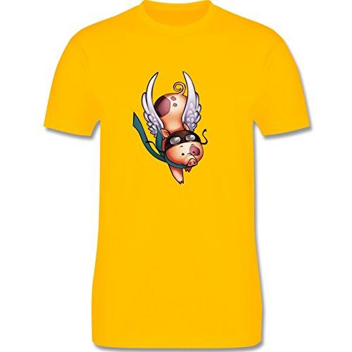Sonstige Tiere - Fliegendes Schwein - Herren Premium T-Shirt Gelb