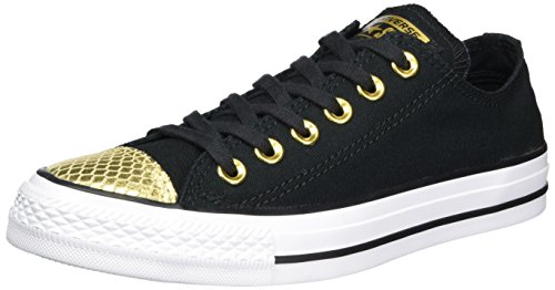 Converse Damen All Star Metallic Toecap Sneaker, Mehrfarbig (Black/Gold/White), 37.5 EU