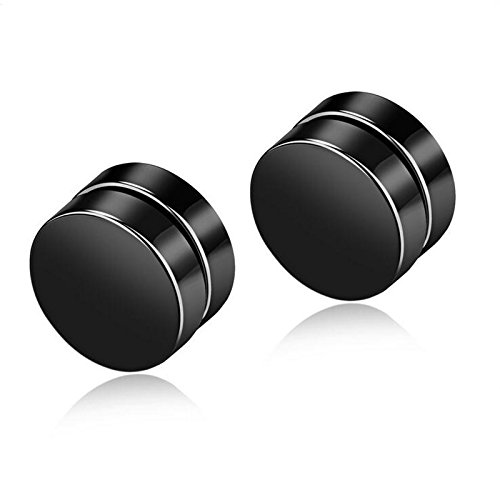 Yellow Chimes Magnetic Closure Steel Stud Earrings for Men (Black) (YCSSER-065BTTN-BK)
