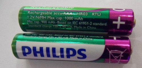 Philips Lot de 2 piles rechargeables AAA HR03 1,2 V 1000 mAh