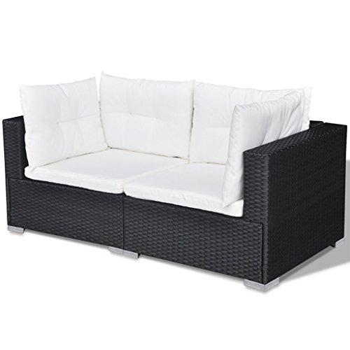 Festnight 32-tlg. Gartensofa Set mit 1 Teetisch Gartenlounge Garten Lounge-Set aus Polyrattan Loungegruppe Sitzgruppe für Terrasse Garten – Schwarz - 6